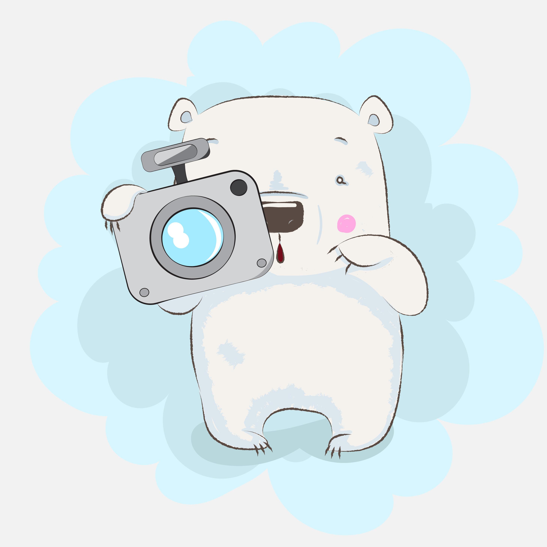 Ursinho Fofo Segurando A Camera Download Vetores Gratis