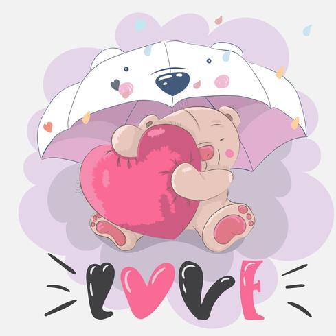 cute little bear hugging heart vector