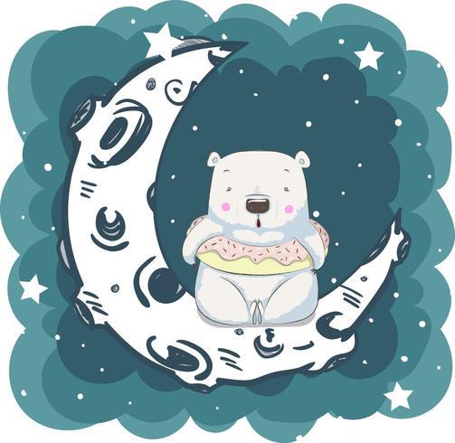 niedlicher kleiner Bär, der auf Mond sitzt vektor