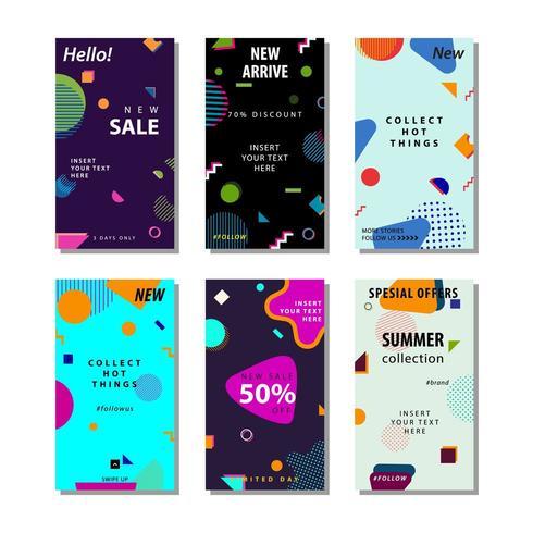 Establecer fondo de banner de venta con formas geométricas de moda vector