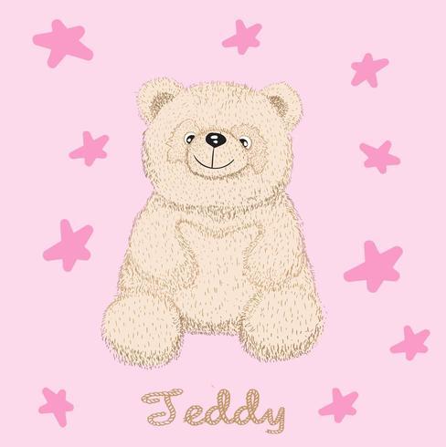 niedlicher kleiner Teddybär umgeben durch Sterne vektor