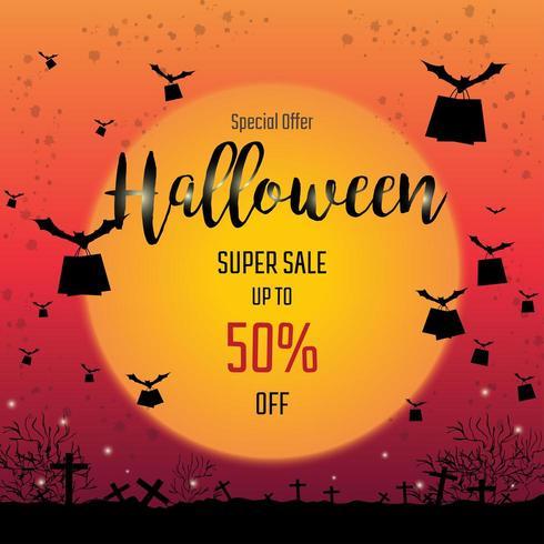 Fledermäuse fliegen mit Einkaufstüten Halloween Sale Banner vektor