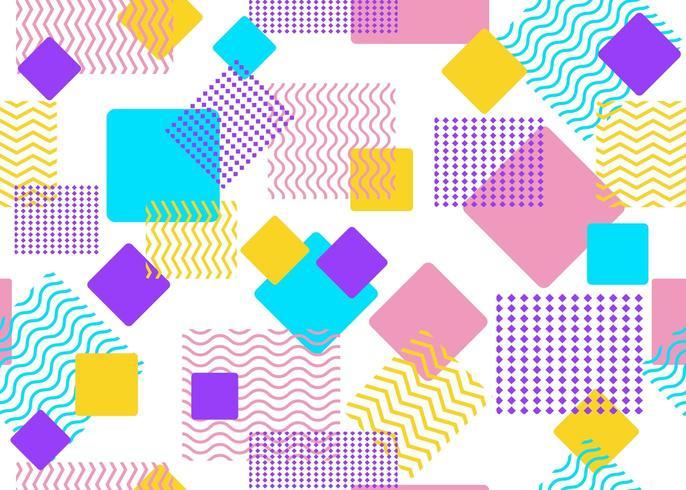 Padrão sem emenda de formas coloridas e quadrados geométricos