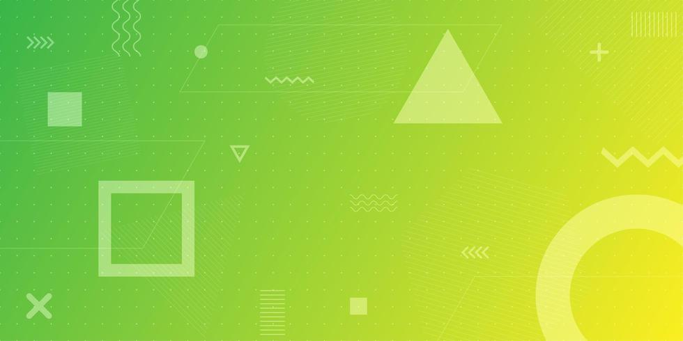 Fondo verde amarillo degradado formas geométricas vector