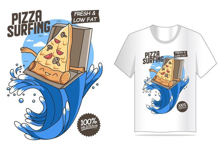 Pizza-surfender T-Shirt Entwurf vektor