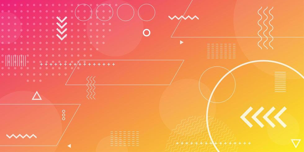 Pink orange and yellow gradient with overlapping shapes background vector