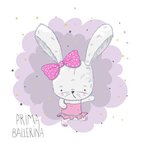 cute baby ballerina rabbit vector