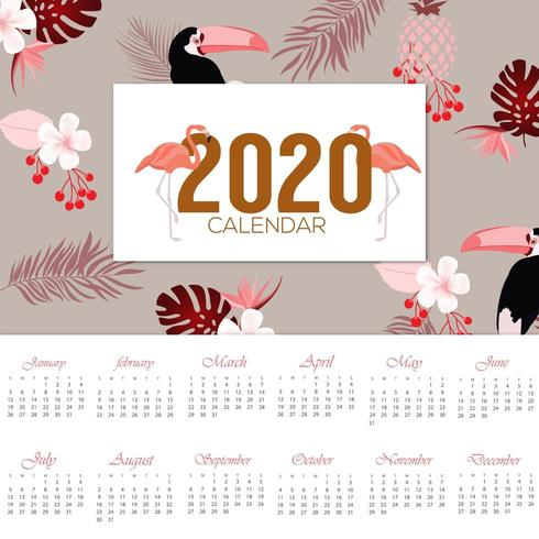 design tropical élégant calendrier 2020