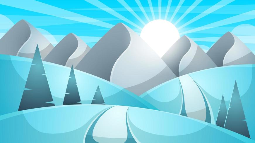 Paisagem de inverno dos desenhos animados. Nuvem, montanha, estrada, colina, ilustração de abeto.