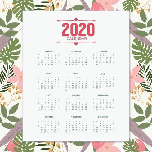 2020 calendar tropical design