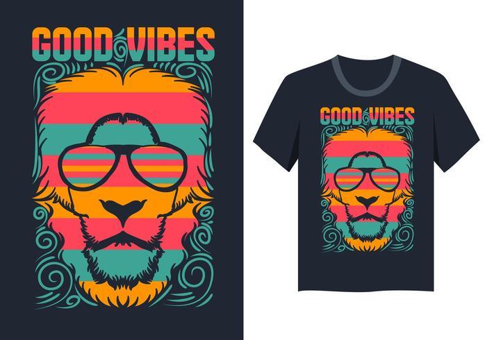 Lion face good vibes ilustración camiseta