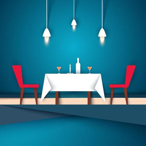 Restaurant - Papierillustration. Weinglas, Stuhl, Tisch, Kerze, Flasche Symbol. vektor