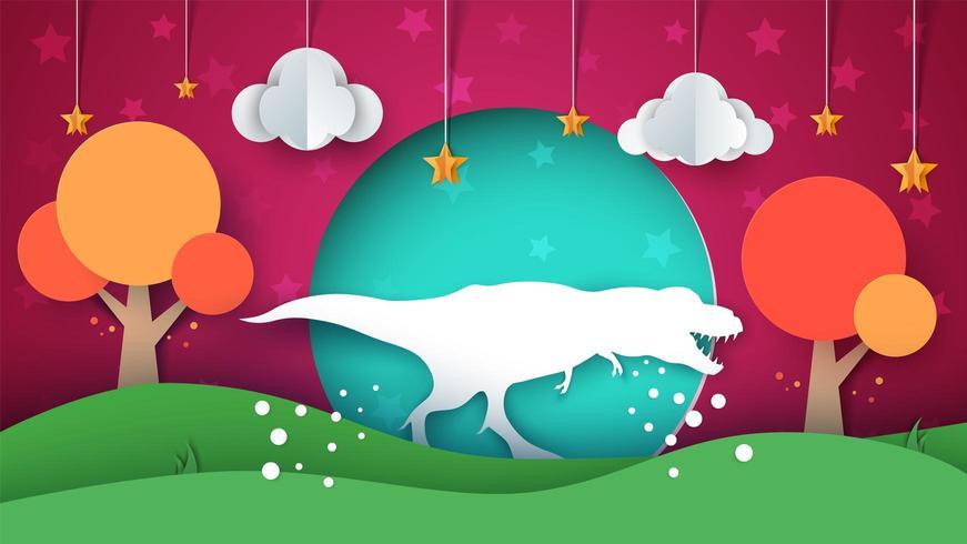 Dinosaurier-Abbildung. Cartoon Papierlandschaft. vektor