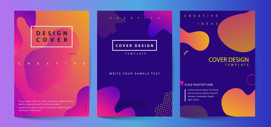 Fluid shapes poster covers set with modern hipster and memphis background
