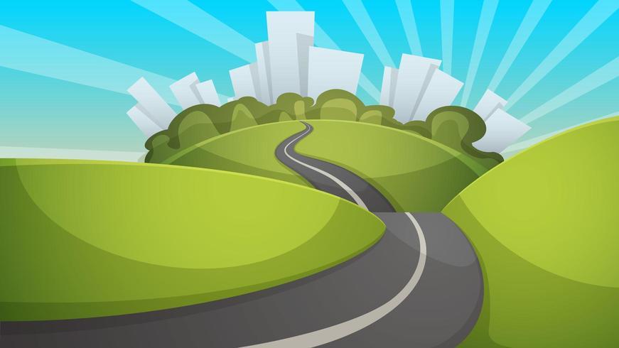 Paisaje de verano de dibujos animados. Ciudad, colina, ilustración de la carretera.