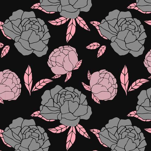 bloemen grijs en roze patroon vector