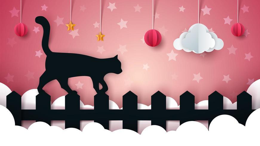 Cartoon paper landscape. Cat illustaton. vector