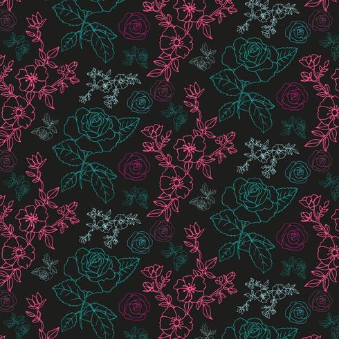 hand getekend bloemen overzicht patroon vector