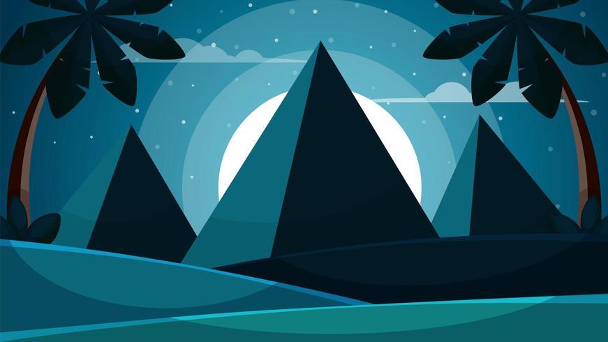 Paisaje de Egipto de dibujos animados. Pirámide, sol, ilustración de la palma. vector