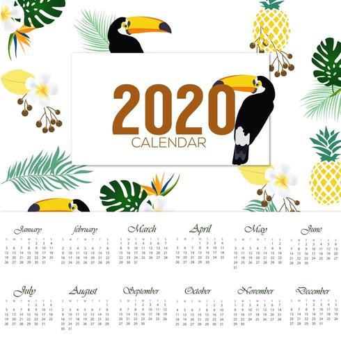 Diseño tropical del calendario 2020