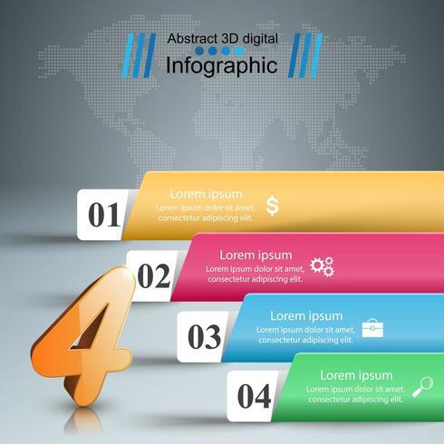 Infografía de negocios de papel - estilo origami en el fondo gris. vector