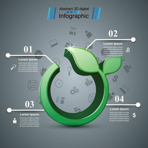 Icona dell'erba 3d. Infografica sulla salute.