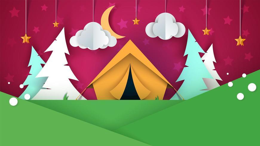 Paysage de papier de dessin animé. Tente, arbre de Noël, nuage, ciel, illustration d'étoiles. vecteur
