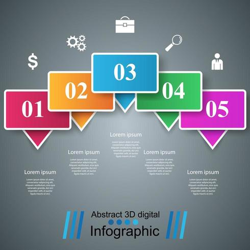 Abstrakt digital illustration 3D Infographic.