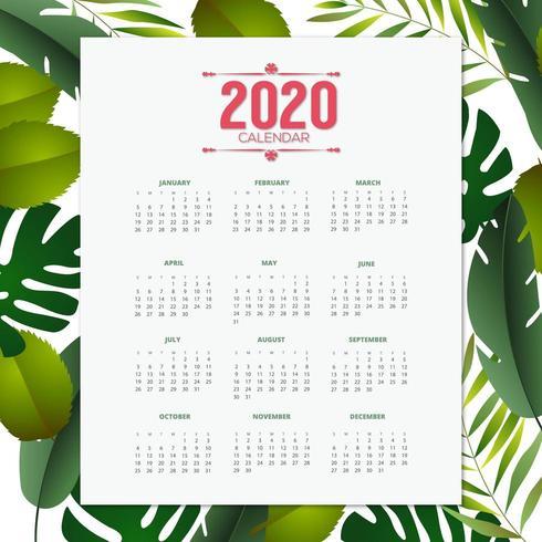 2020 design tropicale del calendario vettore