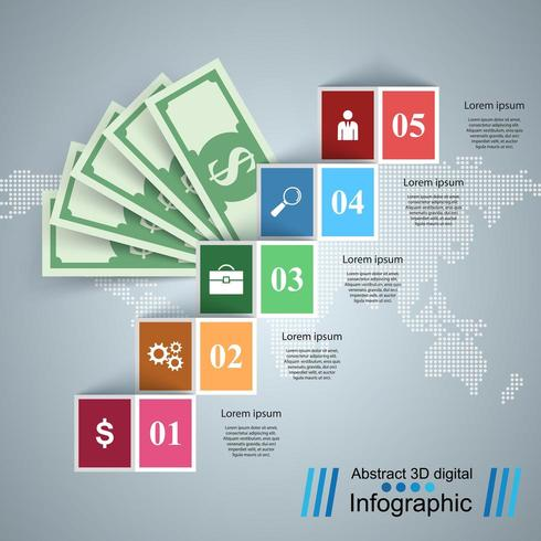 Business Infographics. Dollar, Money icon. vector