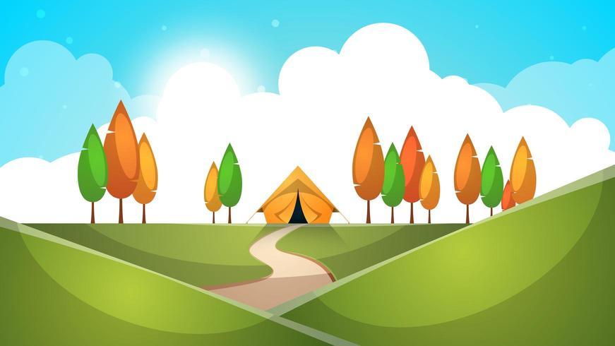 Cartoon landschap. Tent, boom, heuvel, gras illustratie. vector