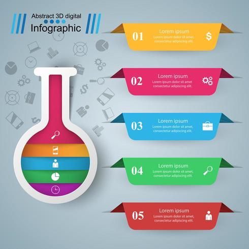 Reageerbuis - zakelijke infographic. Vijf kleuren items vector