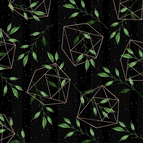aquarelle motif floral avec des formes géométriques