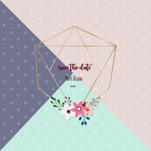 geometrische Blumenhochzeits-Einladungskarte vektor