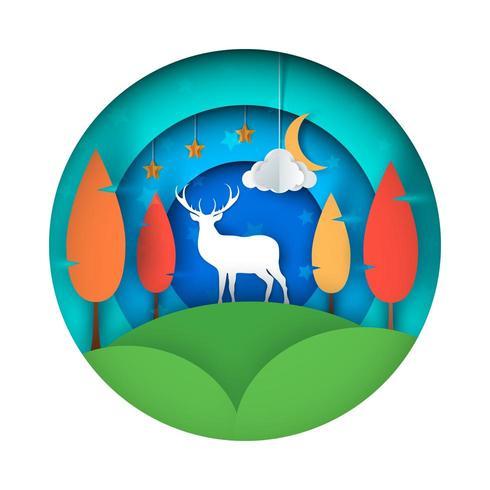 Cartoon paper landscape. Deer illustration.