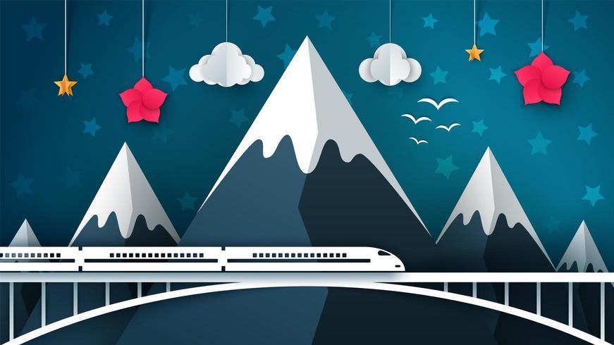 Cartoon berglandschap. Reizen, illustratie. vector