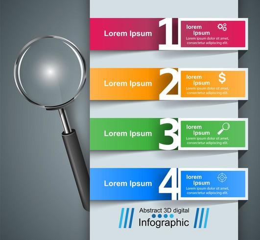 Infografía de negocios Icono de lupa vector