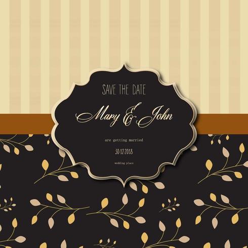 bruiloft uitnodigingskaart met strepen en bloemmotief vector