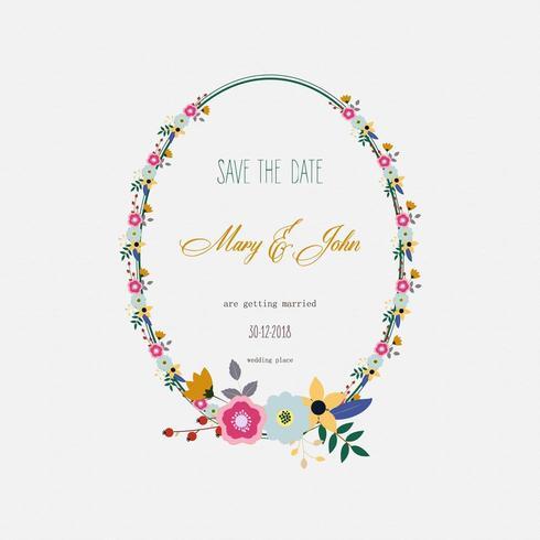 bloemen bruiloft uitnodiging frame vector