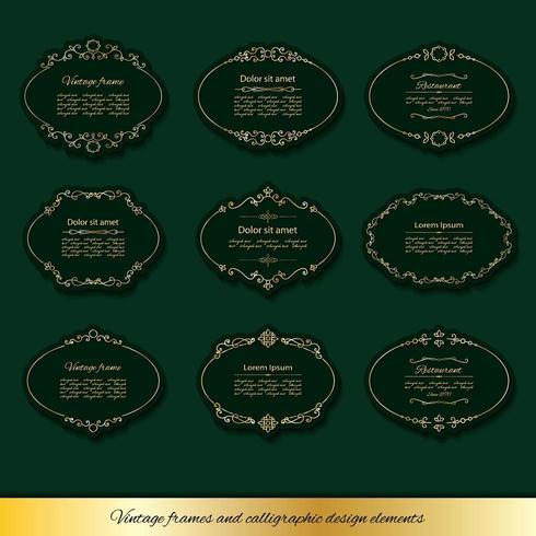 Vintage golden oval frames set.