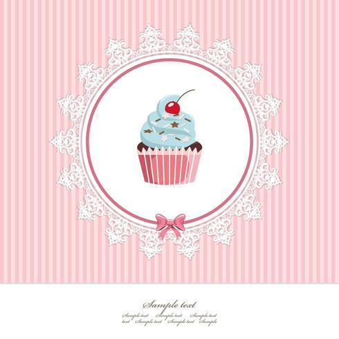 Grußkartenvorlage mit Cupcake vektor