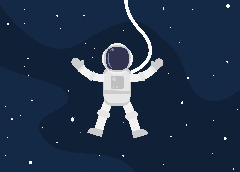Astronaut Cartoon Floating In Space Download Free Vectors