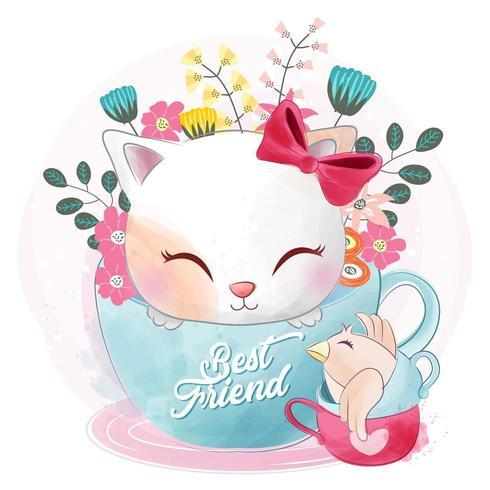 Schattige kleine kat zit in het beste vriend theekopje