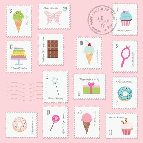 Conjunto de sellos postales de cumpleaños vector