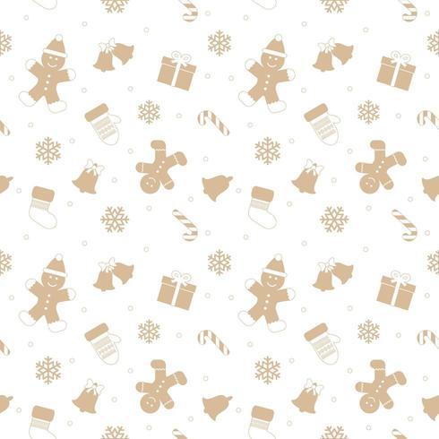 Weihnachtsnahtloses Muster mit Lebkuchenmann. vektor