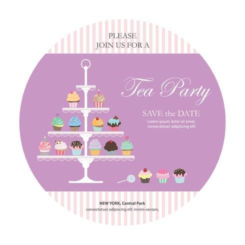 Uitnodigingskaart met cupcakes staan. vector