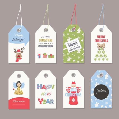 Lindas etiquetas navideñas con brillo. vector