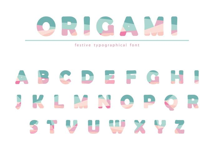 Modern origami festive font in pastel colors.