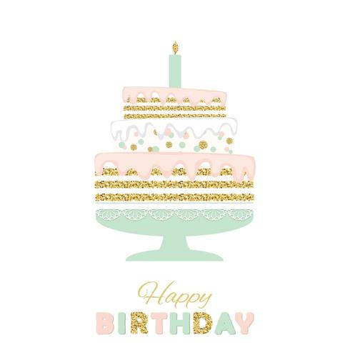 Birthday cake with glitter isolated on white.