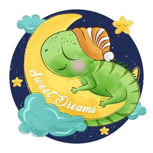 Gullig liten leguan som sover på månen